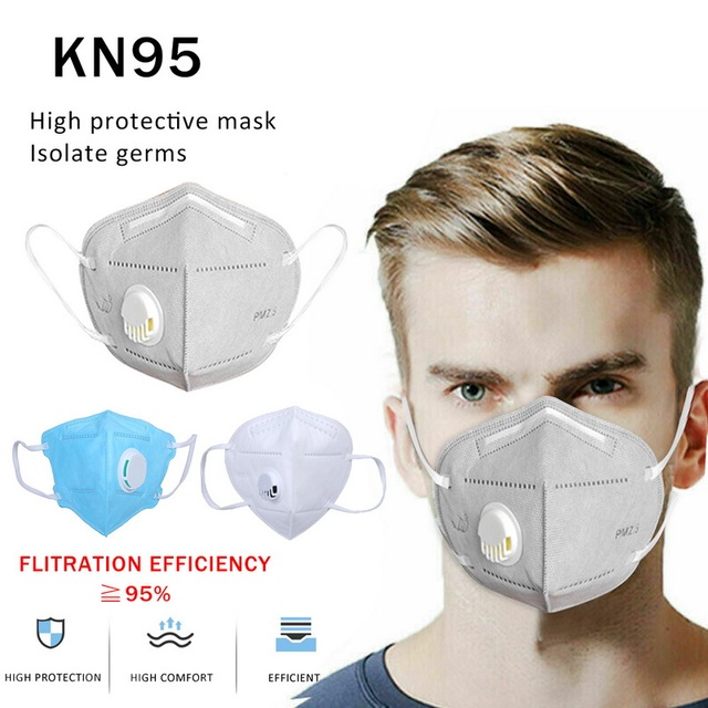 10 PCS Viso Maschera KN95 Adulto Verticale Pieghevole n95 Maschera di Tessuto Non Tessuto Maschera di Polvere di Valved PM 2.5 Respiratore Bocca Maschera ffp2 1