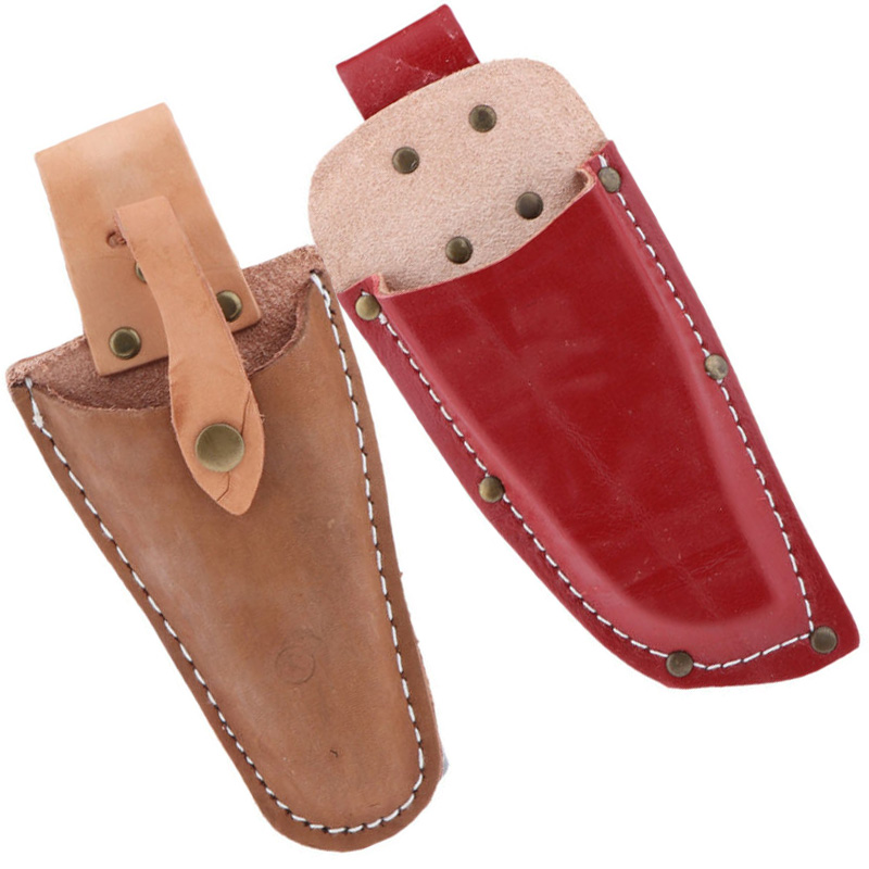 2Pcs Gardening Tool - Garden Pruning Shear / Scissors Pouch Bag Set Red Brown Artificial Leather Tools Parts