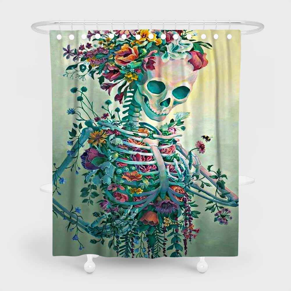 Sugar Skull Bath Curtains Gothic Skeleton 3d Print Waterproof Polyester Shower Curtains Floral Pattern Bathroom Decor Curtains