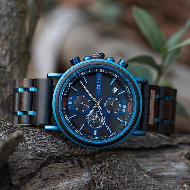 reloj hombre BOBO BIRD New Wooden Watch Men Top Brand Luxury Chronograph Military Quartz Watches for Man Dropshipping Customized 3