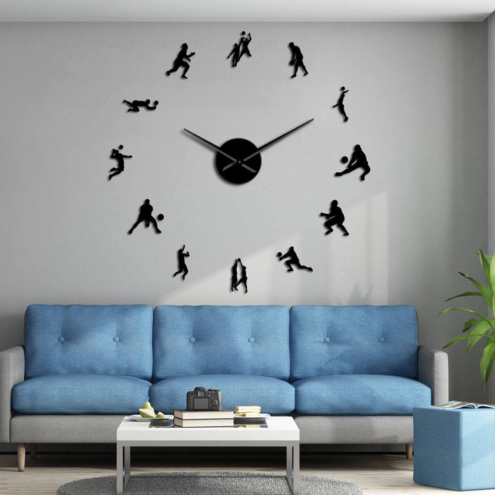 Volleyball Players Modern Mute DIY Wall Clock Mirror Surface Wall Art Stickers Sports Decor Housewarming Volleyball Lover Gift