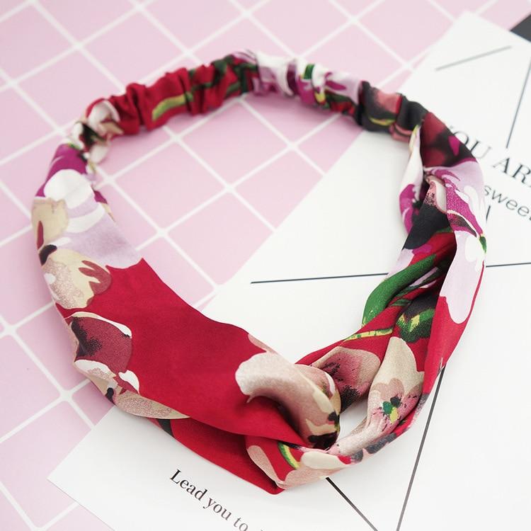 New women flower prints headband elastic silk hairband elastic crosses ladies hair bands headwear hair accessories in Women 39 s Hair Accessories from Apparel Accessories