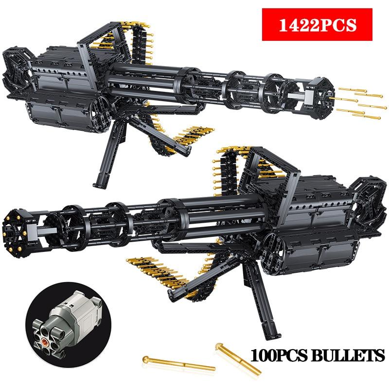 Technic Guns City Gatling Guns Emission Model Building Blocks Weapon Bricks Technicial Toys For Children Kids Gifts