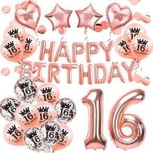 Amawill balões de ouro rosado 16 anos, doce feliz aniversário, festa de aniversário, suprimentos