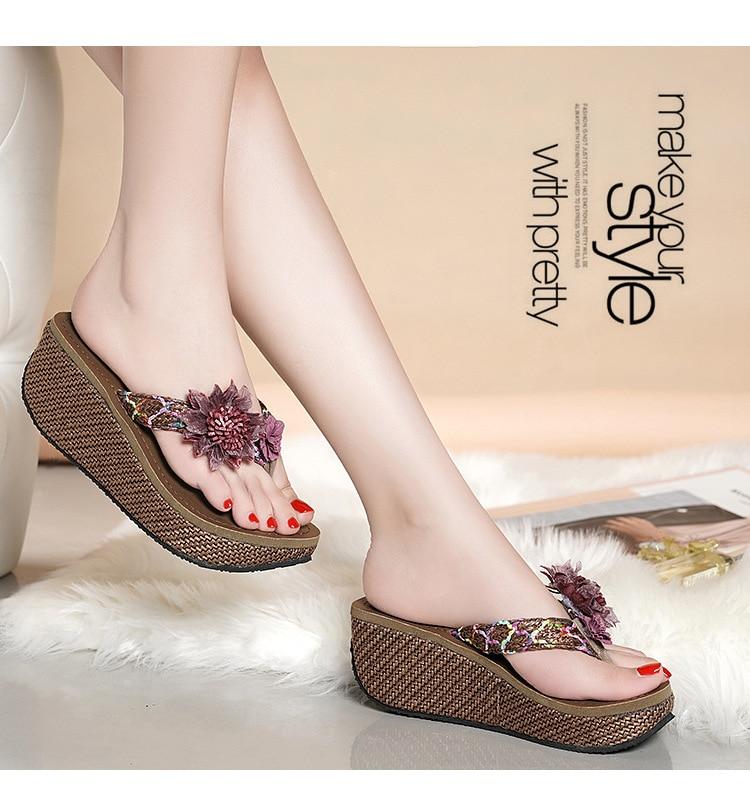 moda cunhas flor loafer causal sapato praia chinelo sandálias flip flops