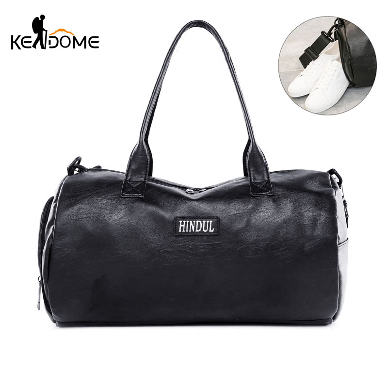 2019 Soft Leather Male Gym Bag With Shoes Storage Cylindrical Handbags Sports Bag For Women Fitness Travel Luggage Bag XA294WD