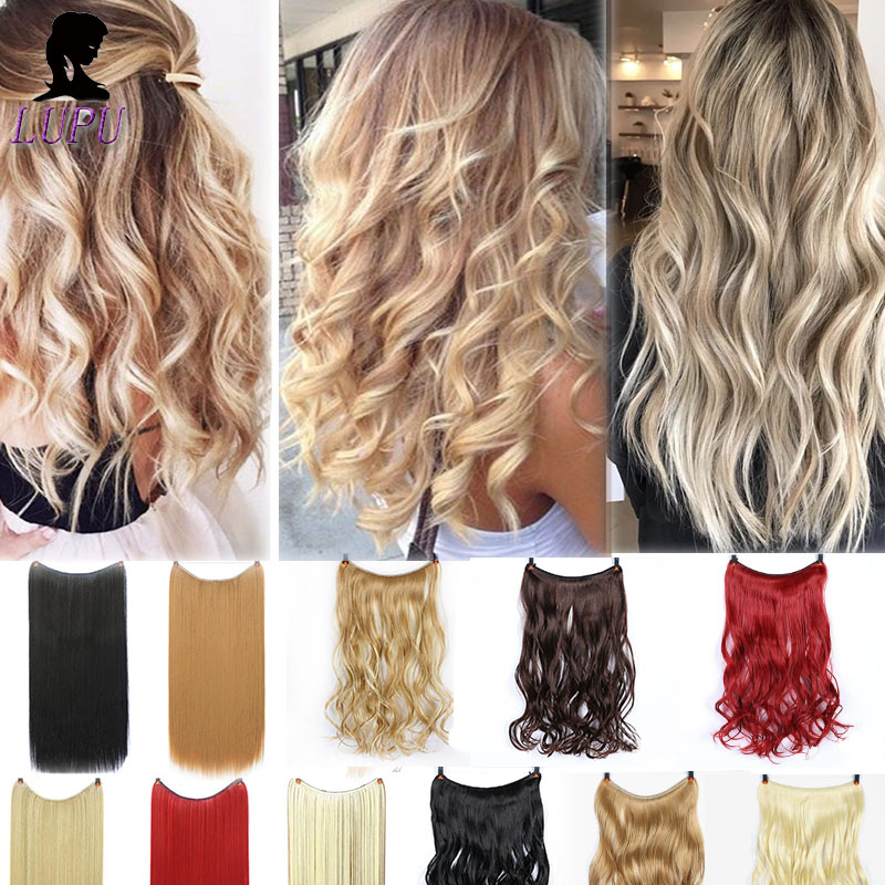LUPU Invisible Fash Line Hair Extensions No Clips In Hairpieces Natural Synthetic Secret Wire Fake Hair High Temperture Fiber