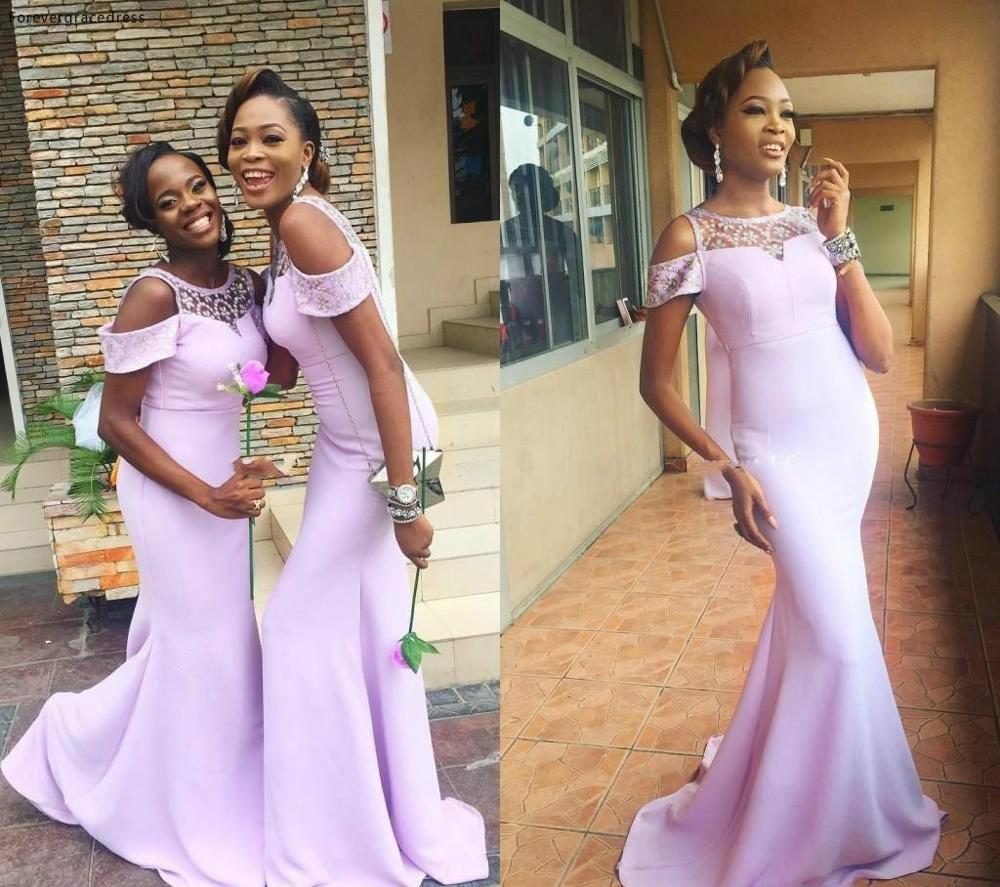 African Mermaid Cheap Lavender Bridesmaid Dress Long Country Garden Boho Wedding Party Guest Maid Of Honor Gown Plus Size