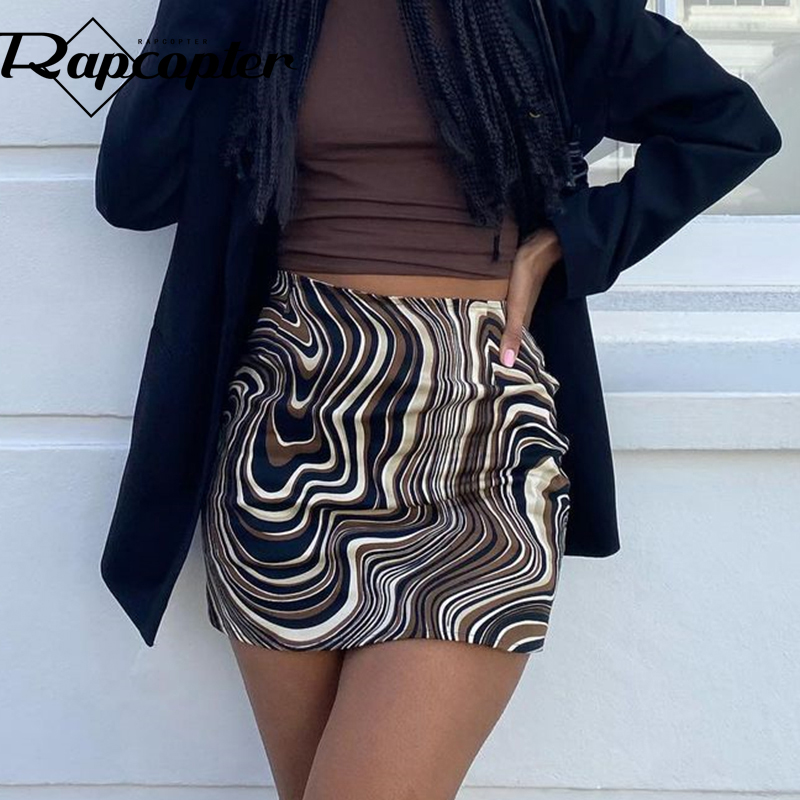 Rapcopter Brown Paisley Mini Skirts y2k Aesthetic Short Skirts Vintage Fashion Streetwear Women High Waisted Skirts Streetwear
