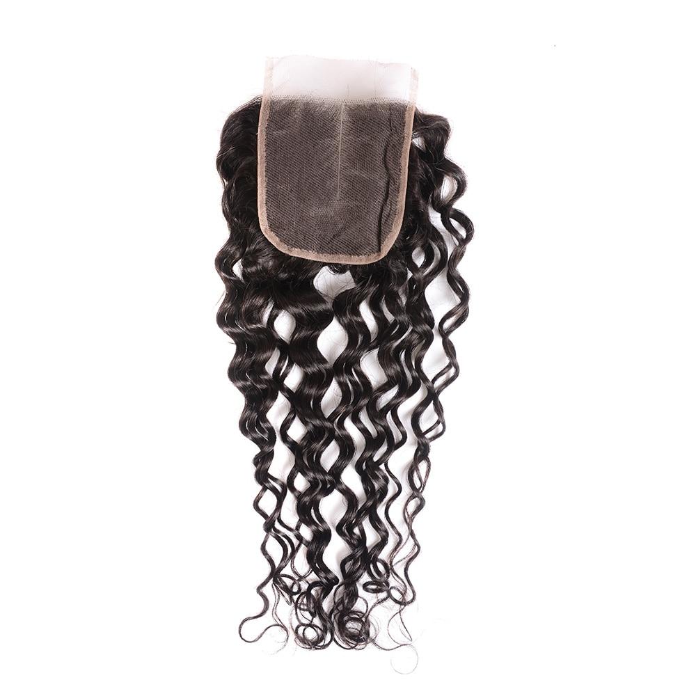 4x4 Lace Closure 100%  Closure Sample     Hair Water Wave Frontal 8 Inches Short Hair 4