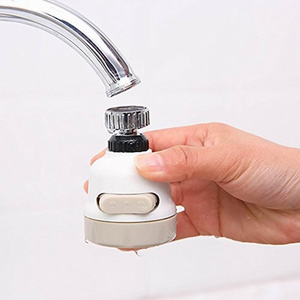 360 Rotary 3-Speed Adjustable Faucet Turbo Shower Head Sprinkler Diffuser Tap Filter Filter Adapter 40FP19