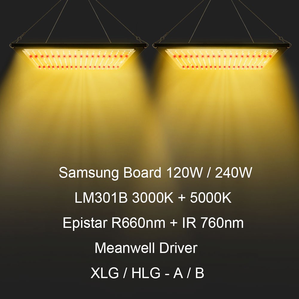 Samsung Board LM301B SK 3000K 5000K 660nm 760nm Dimmable 120W 240W LED Grow Light Full Spectrum For Indoor Hydro Plant