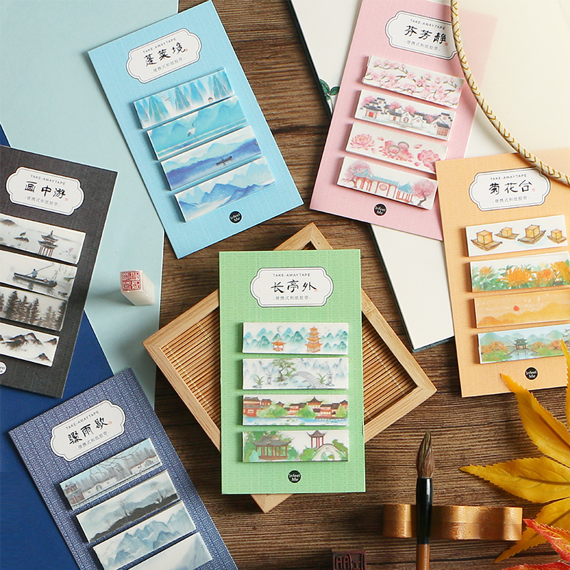 AngelHere Store 80 Pcs/set Vintage Washi Tape Chinese Style Masking Decorative Stickers DIY Adhesive Stickers For Dairy Journal