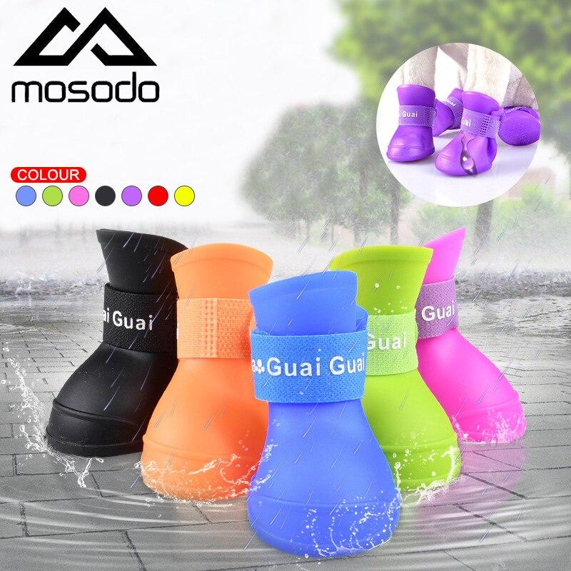 MOSODO 4 шт./лот Обувь для собак уличные Зимние непромокаемые сапоги для собак Резиновые Нескользящие водонепроницаемые сапоги для питомцев кошек и щенков Обувь для собак      АлиЭкспресс