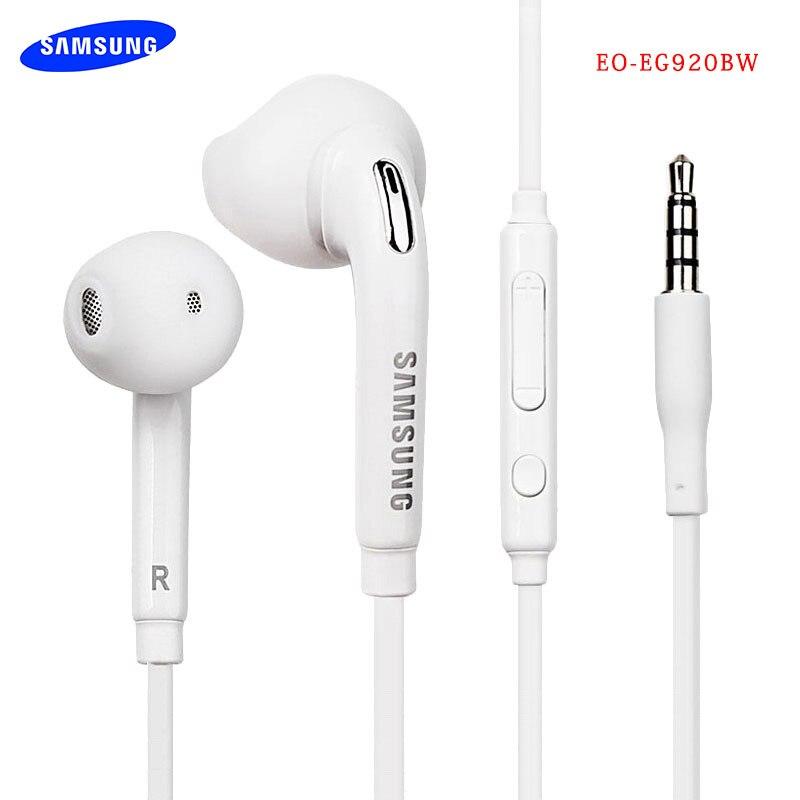 Наушники-вкладыши Samsung EG920 3,5 мм с глубокими басами, наушники-вкладыши с микрофоном и дистанционным управлением для Galaxy S6, S7, S8, S9, S10, Note 4, 5, 8, 9