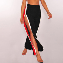 Casual Sport Pants For Women Sexy Side Slit Zipper Color Block Striped Trousers Sweatpants Streetwear Hip Hop Wide Leg Pants casual striped color block dress