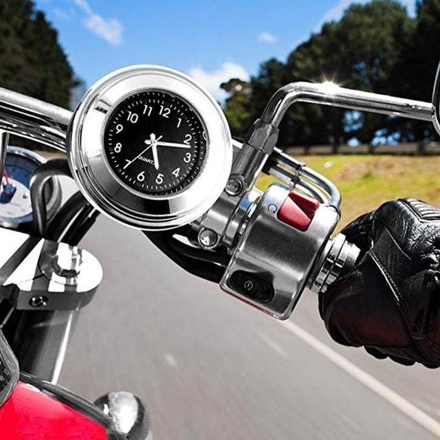 """Universal Waterproof 7/8 """"Motorcycle Handlebar Black/White Dial Clock Thermometer Motorcycles Accessories 2"""
