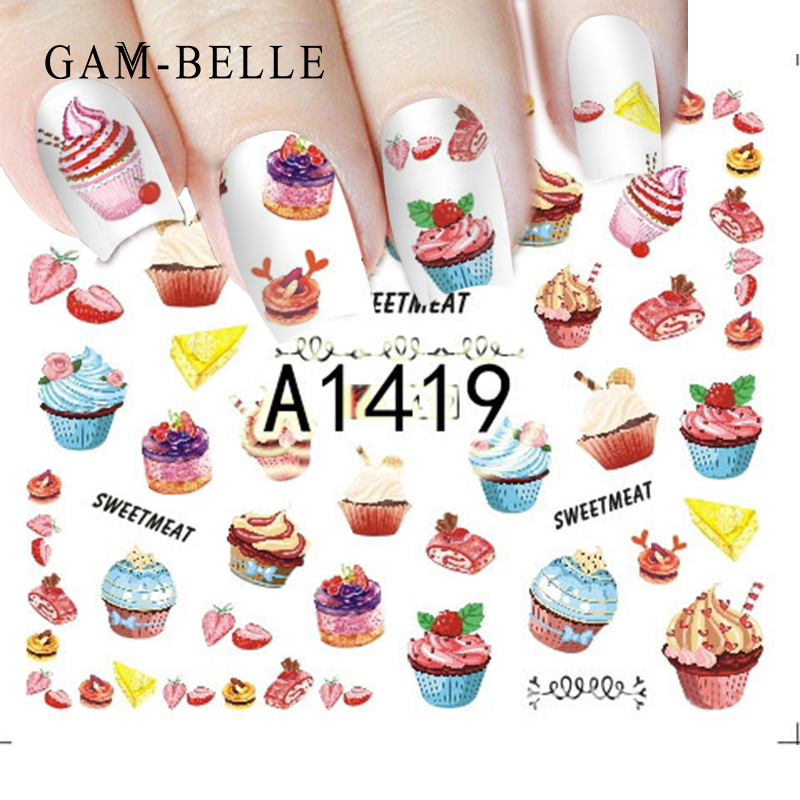 GAMBELLE 1 Sheet Delicious Cake Cool Drink Ice Cream Slider Nail Art Water Decal Sticker For Nail Art Tattoo Decor Manicure