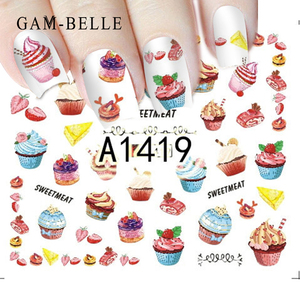 GAMBELLE 1 Sheet Delicious Cake Cool Drink Ice Cream Slider Nail Art Water Decal Sticker For Nail Art Tattoo Decor Manicure(China)