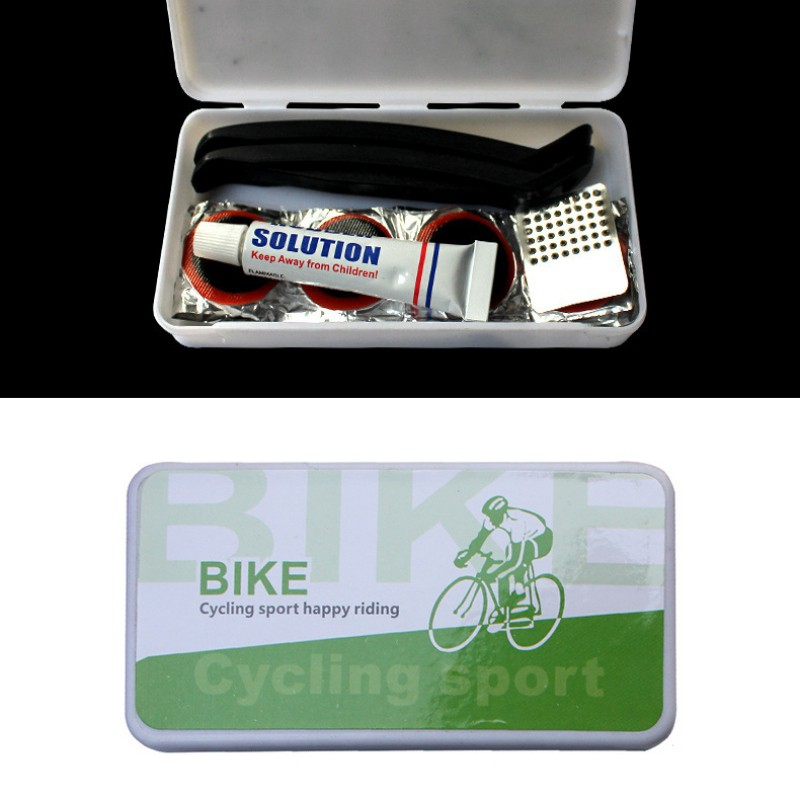 Camping Bike Tools Tire Repair Kits ABS Box Lever Patches Glue Metal Cymbal Bicycle Repair Tools Sets Emergency For Long Riding