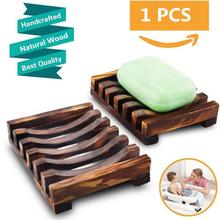 1Pcs New Natural Bamboo Wooden Soap Dish Tray Drain Moisture-proof Dish Bathroom Shower Soap Holder Storage Rack Two Style