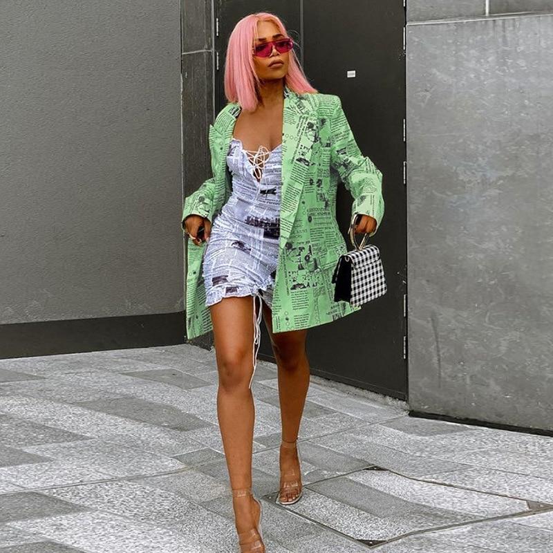 2019 autumn winter women suit coat long jacket newspaper outwear casual blazer office streetwear button tops clothes