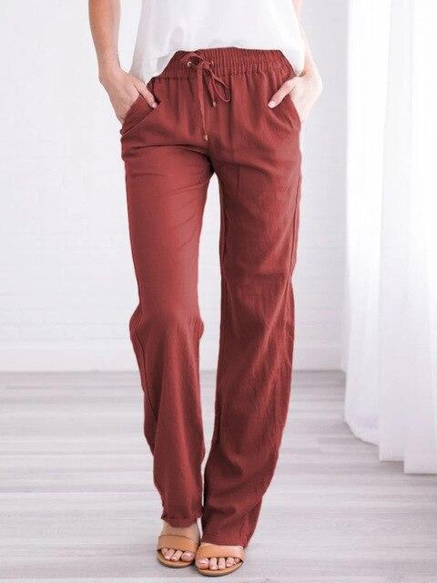 Summer Women's Cotton Linen Drawstring Loose Wide-Leg Pants Hot Sale Long Trousers With Pocket WDC4496 3