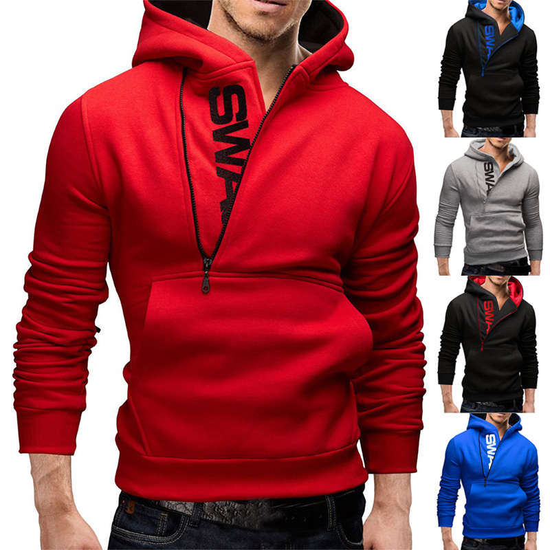 Autumn Fashion Men Casual Letter Printing Side Zipper Head Cashmere Sweater Male Outerwear Top 2019 Men's Hoodies Sports Design