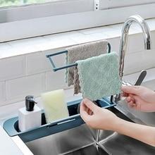 Multifuncional pia rack de drenagem prateleira telescópica cesta copo tigela esponja titular cozinha banheiro organizador armazenamento