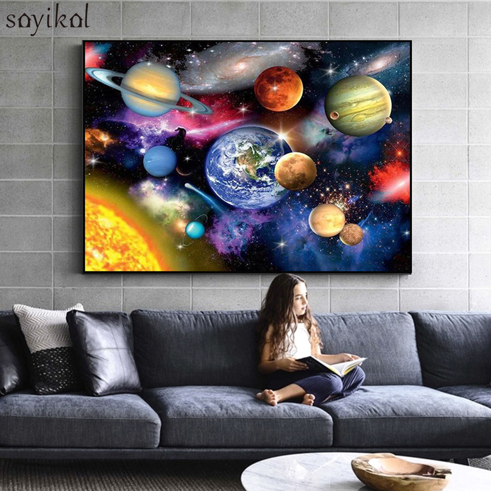Frame DIY Painting By Numbers Kits Colorful Solar System Earth Space Wall Art Picture Coloring By Numbers Kids Unique Gift Paint
