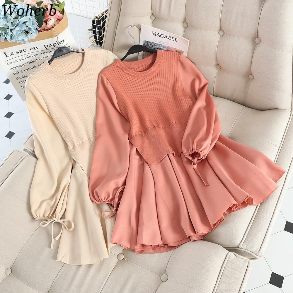 Woherb Fake Two Knitwear Dress Women Korean Patchwork Ruffles Knitted Vestidos O neck Slim Fit Robe Sweet Pleated Dresses 4e965|Dresses| - AliExpress