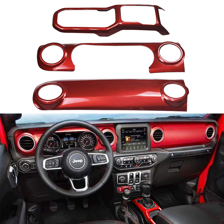 Red For 2018 Wrangler JL Interior Trim Kit Steering Wheel Air Outlet Cover etc
