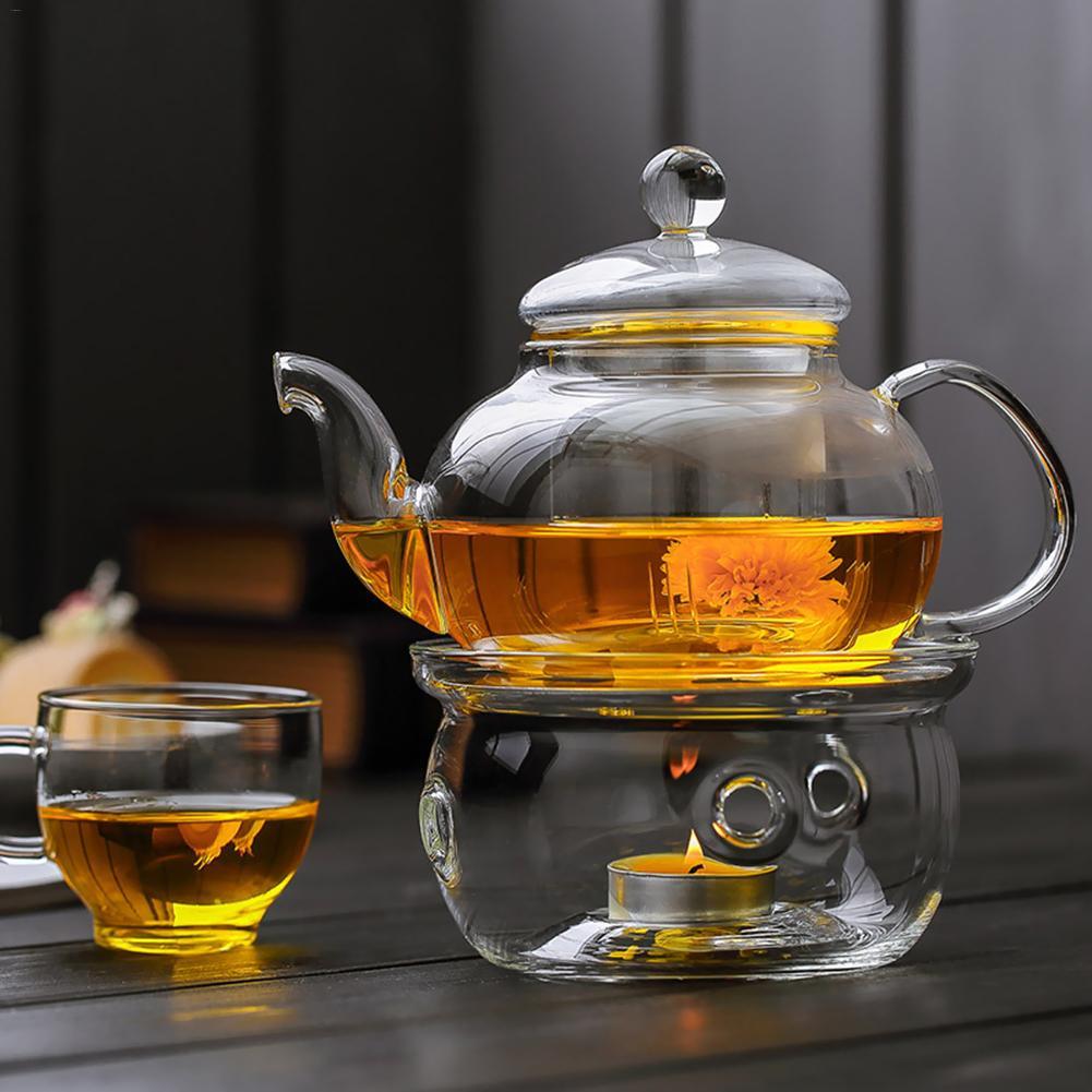 Heating Base Teapot Warmer Base Coffee Water Scented Tea Warmer Candle Clear Glass Heat-Resisting Teapot Warmer Insulation Base