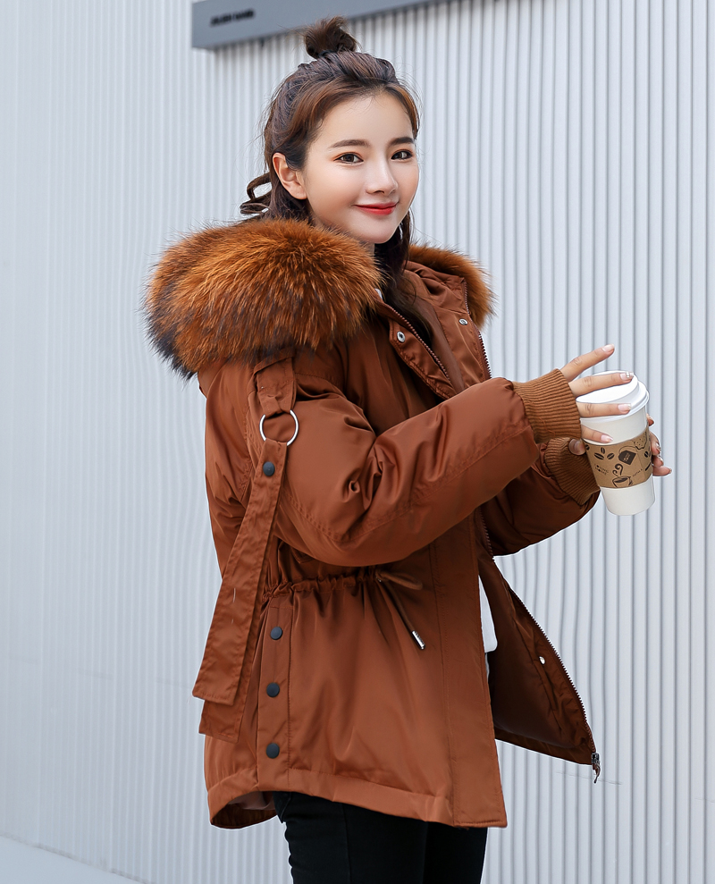Korean Style 2019 Winter Jacket Women Cotton Padded Hooded With Fur Fe_A9_10