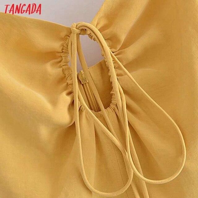 Tangada Women Yellow Sexy Party Dress Sleeveless Backless 2021 Fashion Lady Midi Dresses Robe 3H140 4