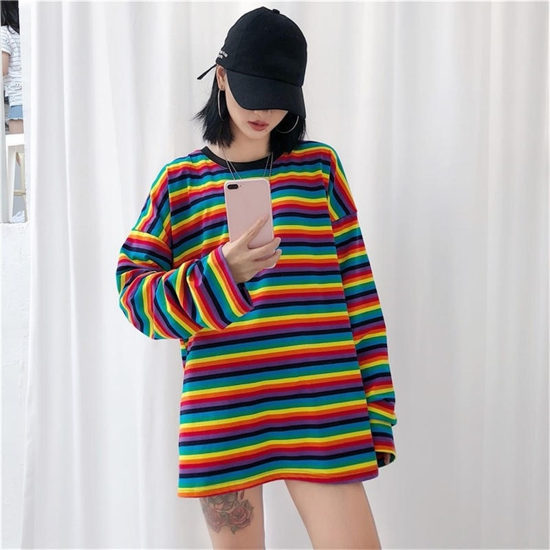 Gagarich Punk Style Summer Causal Cotton T Shirt Women Striped T-shirt Rainbow Shirt Female Harajuku Loose Top Shirts Plus Size