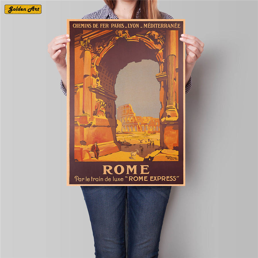 Italy Rome City Travel Poster Hand Painted Tourist Attractions Vintage Kraft Paper Cafe Bedroom Home Decor Wall Sticker42x30cm remote control charging helicopter