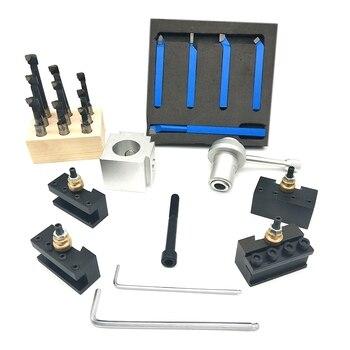 19 Pcs Quick Change Post Holder Kit Boring Bar Turning Tool Set Holder for CNC Mini Lathe with 9Pcs 3/8 inch Boring Bar