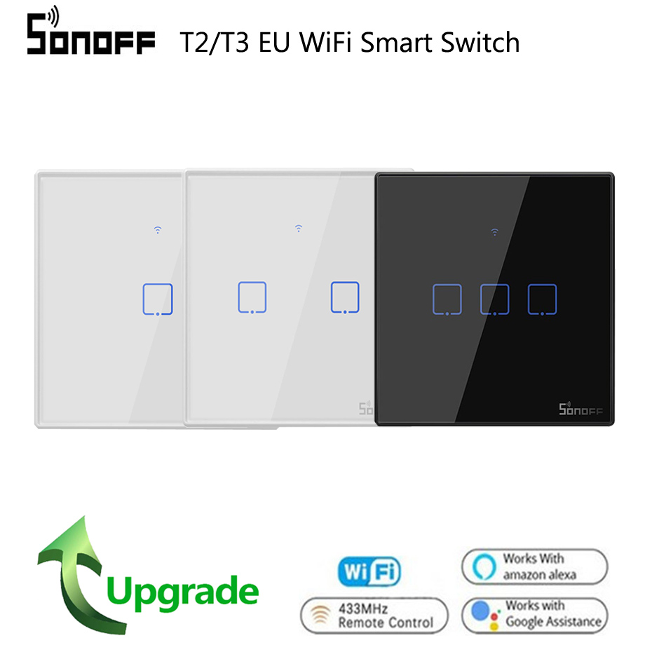 SONOFF T3 T2EU TX Smart Wifi <font><b>Wall</b></font> Touch Switch With Border Smart Home 1/2/3 Gang <font><b>RF433</b></font> Remote Switch Work With Google Home image