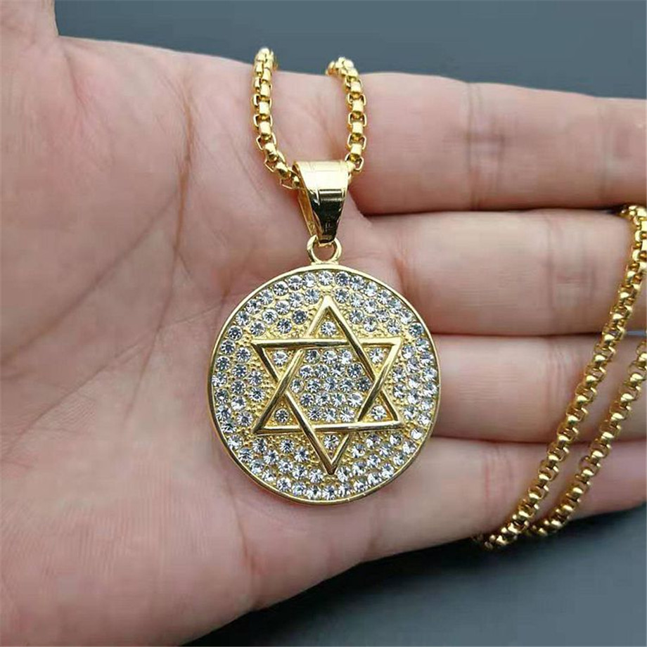 Hip Hop Iced Out Star of David Pendant With Box Chain Stainless Steel Israel Judaica Necklaces Hebrew Jewish Jewelry