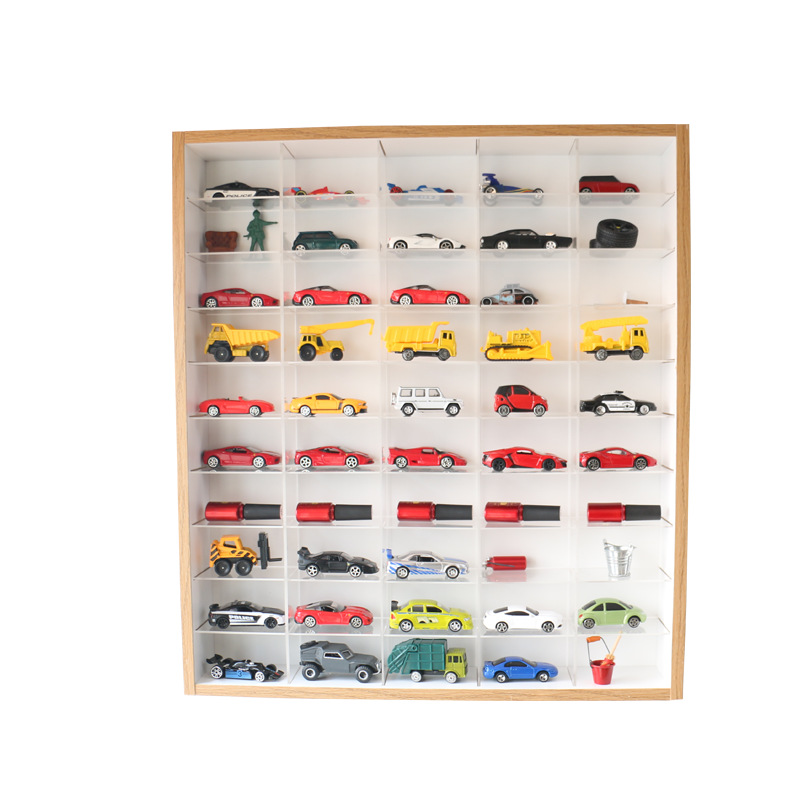 1:64 50 Grid Acrylic Display Stand Solid Wood Assembled Car Storage Box Dumika Alloy Hot Wheels Children's Toy Car Base