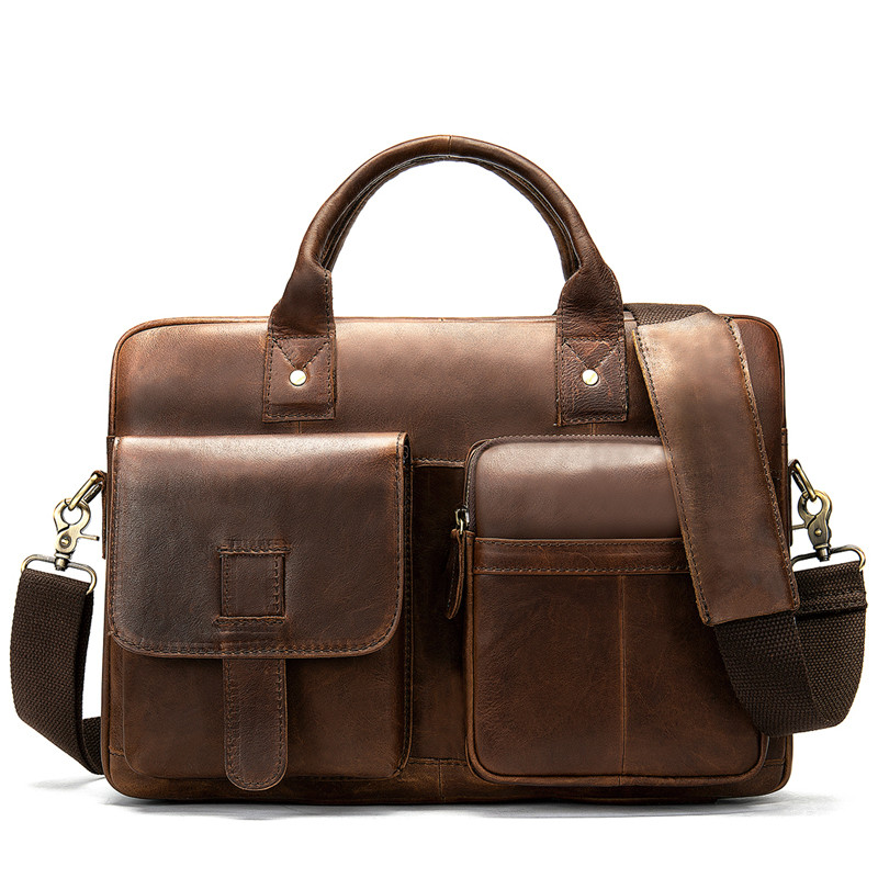 men's briefcase bag men's 100% genuine Leather laptop bag office bags for men business porte document briefcase handbag image
