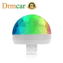 Luz Ambiental RGB para coche, minilámpara Led colorida con sonido de música, interfaz USB de Apple, fiesta de vacaciones, ambiente Interior, domo, maletero