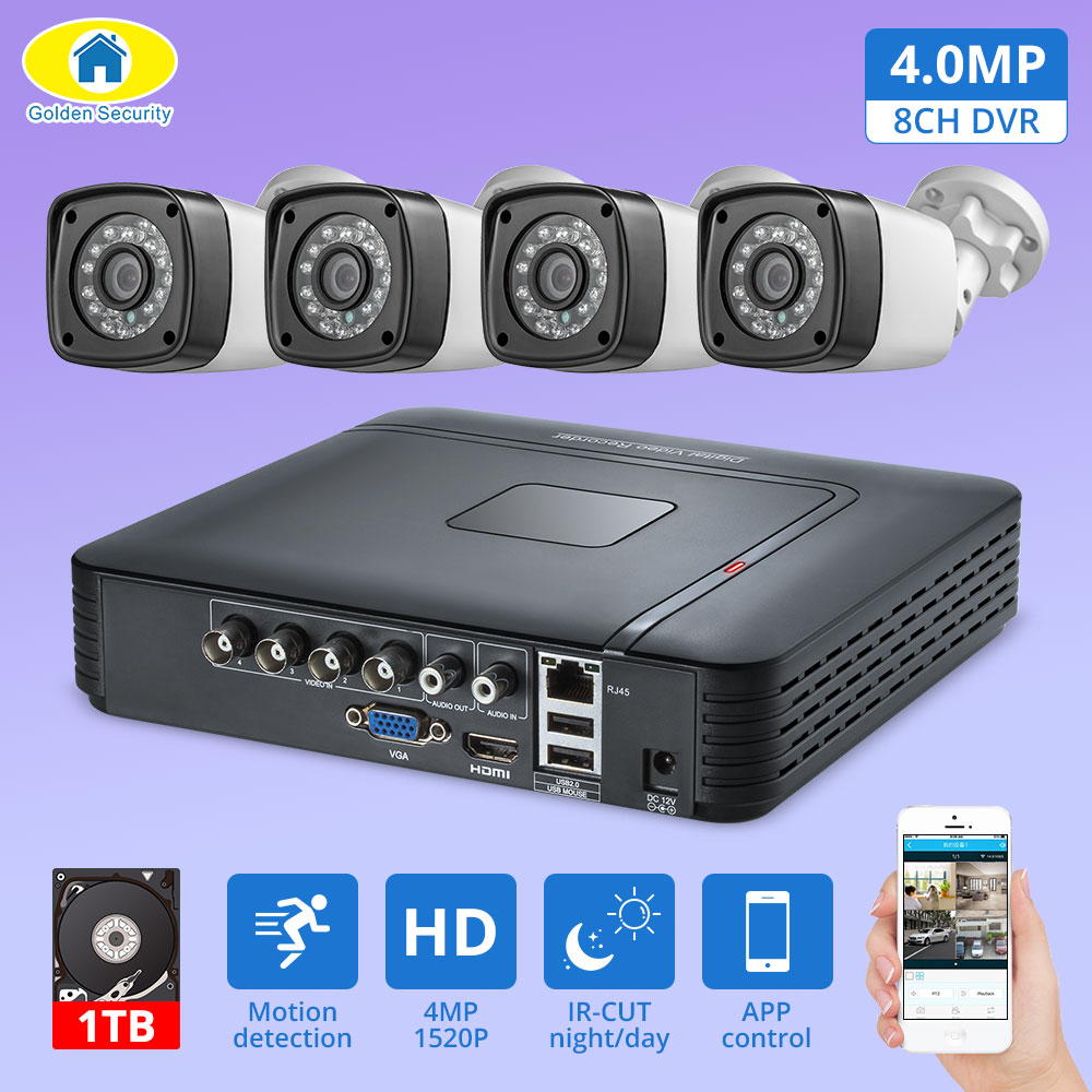 4pcs 4MP 4CH AHD DVR CCTV Camera Security System Kit Outdoor Camera Video Surveillance System Night Vision P2P HDMI 1520P