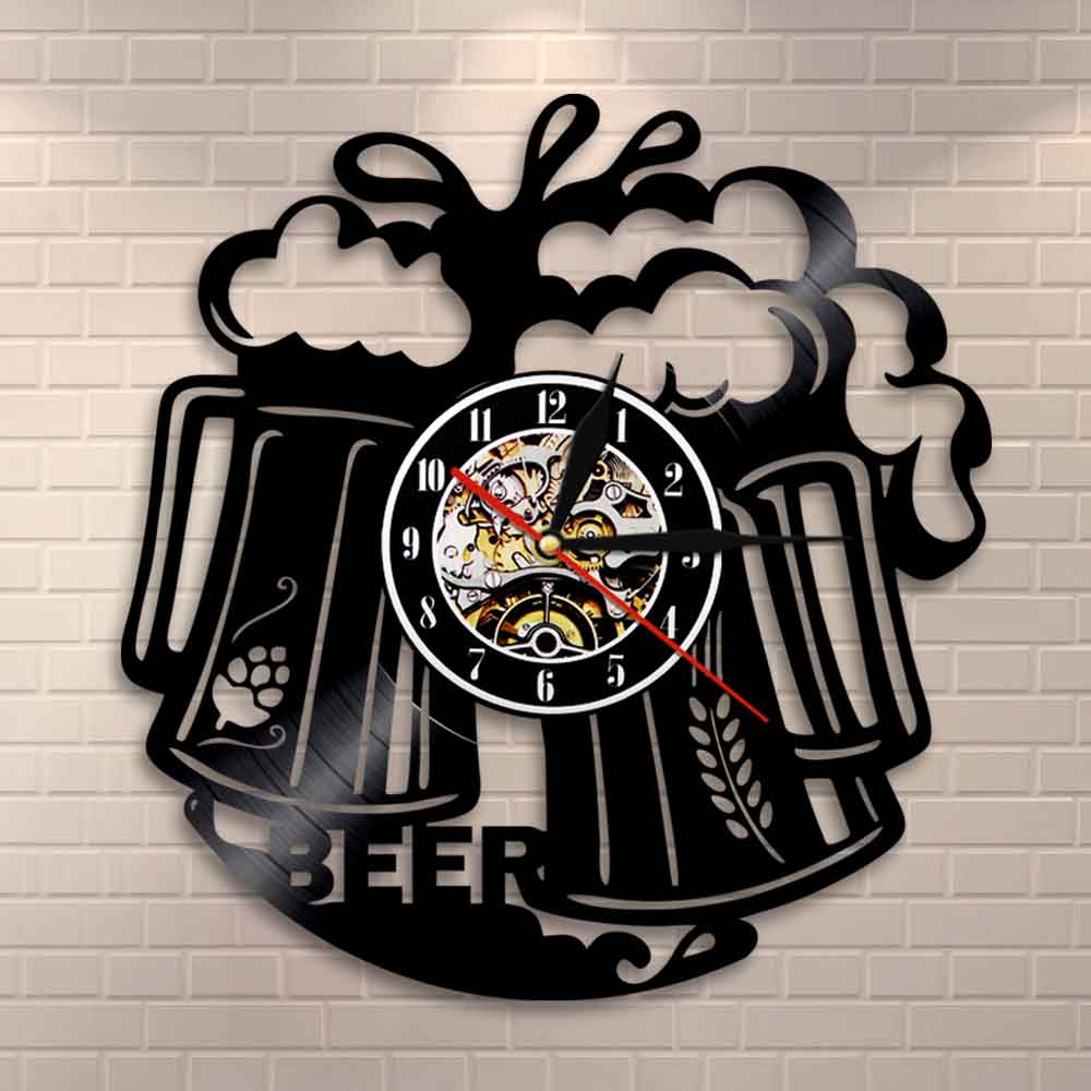 Beer Logo Wall Art Wall Clock Pub Bar Tavern Bartender Brew Brewery Cheers Alcohol Liquor Ale Drink Vinyl Record Wall Clock Gift