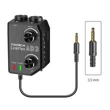COMICA AD3 XLR/3,5 мм/6,35 мм микрофон аудио предусилитель миксер/адаптер/гитара интерфейс для DSLR Cannon Nikon камера iPhone Android