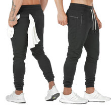 2021 nowe męskie sportowe spodnie męskie 2 w 1 sportowe spodnie męskie dwupokładowe szybkie suszenie sportowe męskie spodnie Jogging Gym pant Men