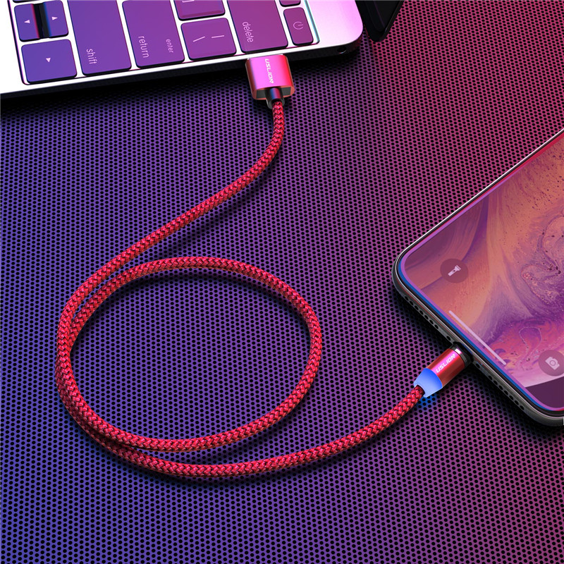 Câble magnétique de micro USB de type C, marque USLION pour iPhone, Android et Xiaomi 4