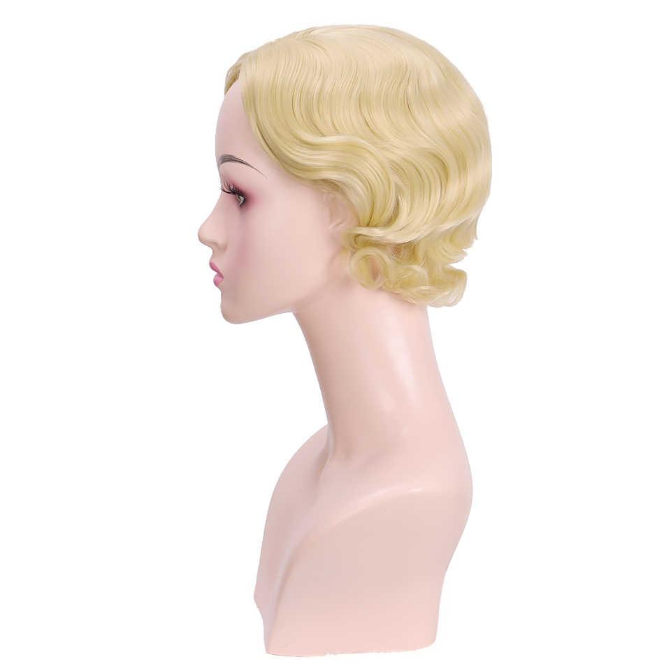 MUMUPI krótkie peruki z kręconymi włosami dla czarnych kobiet Retro peruka kobiece syntetyczne Hiar Finger Wave peruka Cosplay