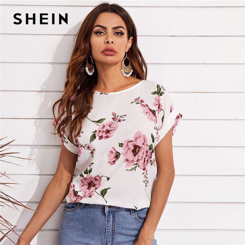 SHEIN White Cuffed Sleeve Floral Print Top Summer Round Neck Batwing Short Sleeve Bohemian Womens Tops and Blouses|Blouses & Shirts| - AliExpress